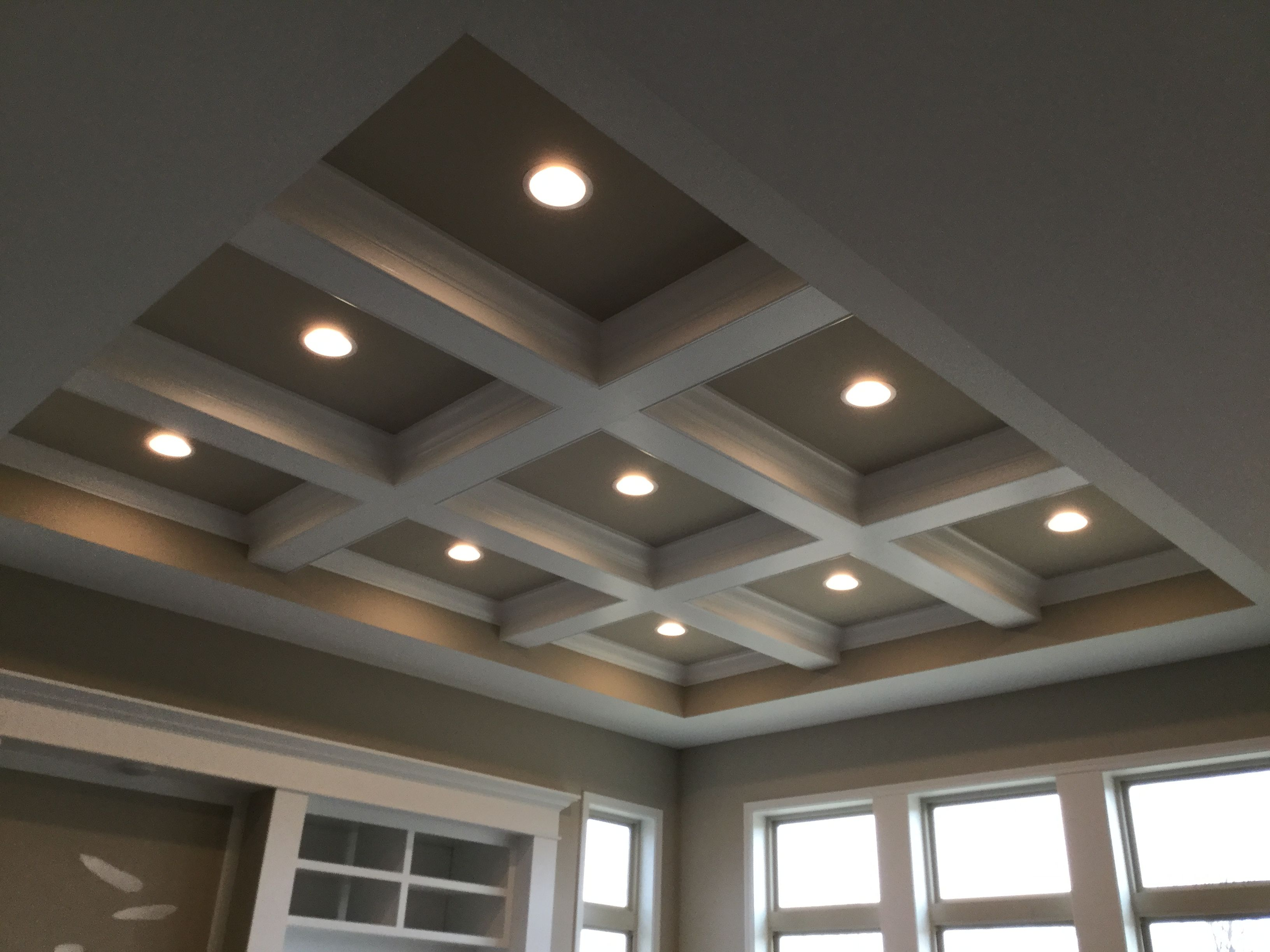 Coffered Ceiling In Family Room With Can Light Package False