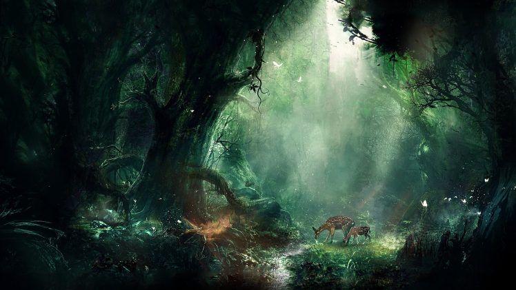 Artwork Fantasy Art Forest Trees Animals Bambi Deer Hd Wallpaper Desktop Background Fantasy Landscape Jungle Wallpaper Fantasy Forest
