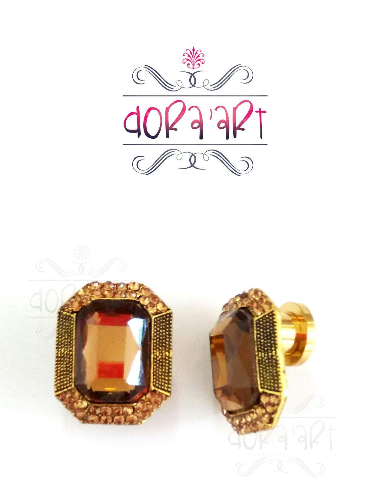 787254a386c Alargador brinco em 8mm com alargador de aço dourado com rosca. Compre pelo  site  www.doraart.com.br