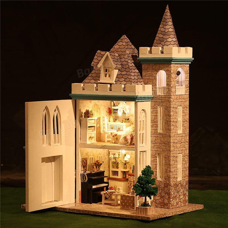 diy wooden led light assembled doll house moonlight castle miniature kit gift sale banggood mobile