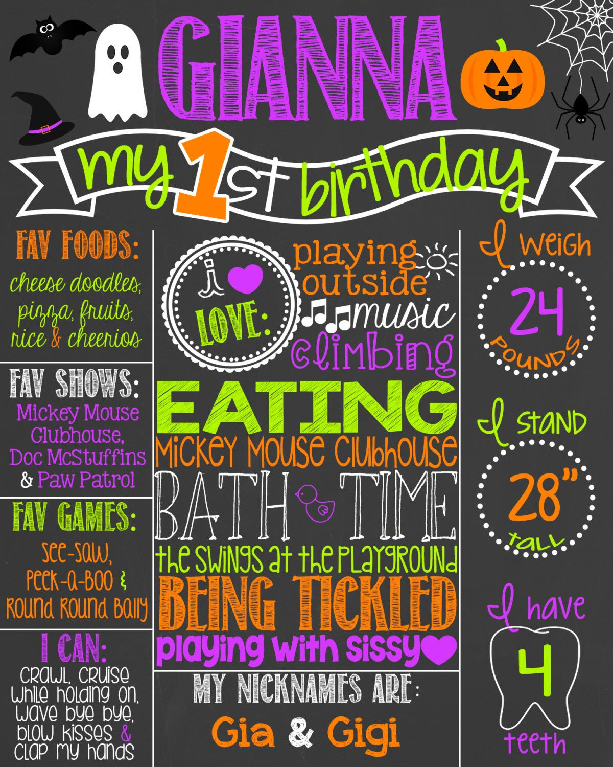 Halloween First Birthday Printable Invitation -5.5x4 | Birthdays ...