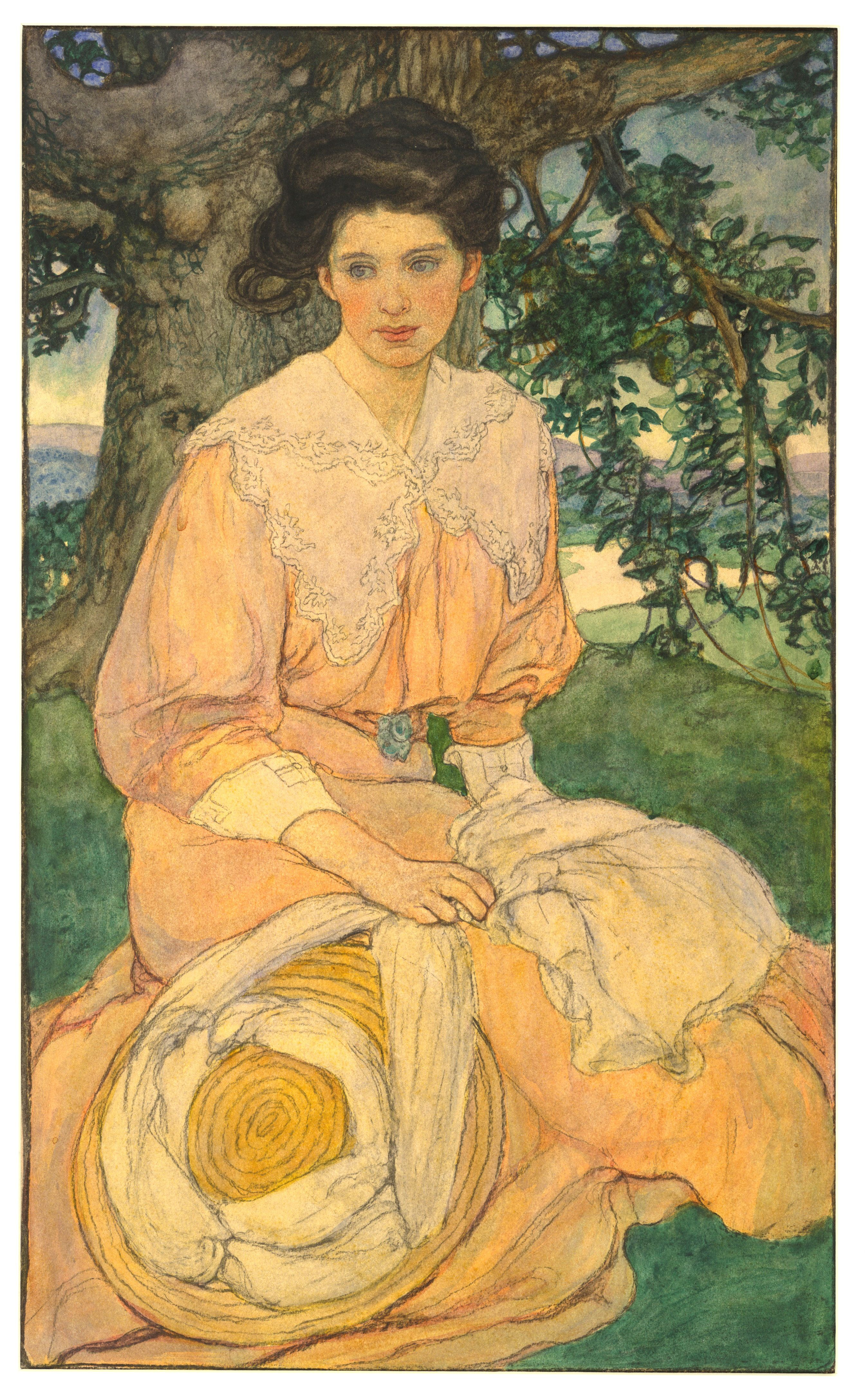 """""""Gisèle"""", by Elizabeth Shippen Green (American, 1871-1954) -- See more at: http://giam.typepad.com/100_years_of_illustration/elizabeth_shippen_green_18711954/"""