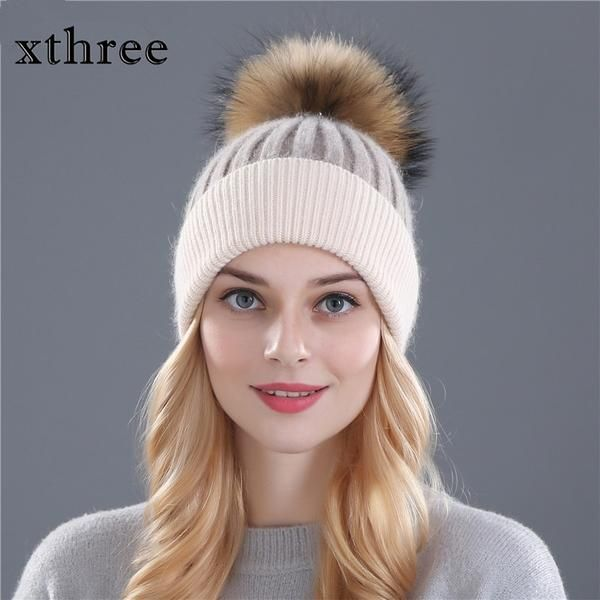 c15a7ce2914 Xthree winter wool knitted hat beanies real mink fur pom poms Skullies   Discounts  BestPrice
