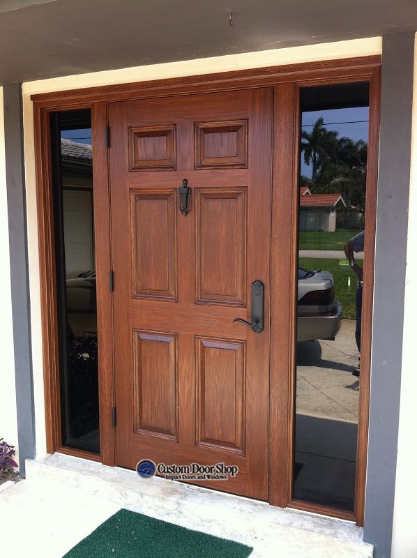 Hurricane Impact Door With Plain Glass Side Lights Front Entry