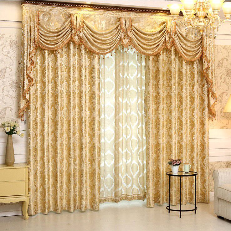 4a39cfa2f75004 Gold Floral Jacquard Polyester Luxury Damask Curtains for Living Room