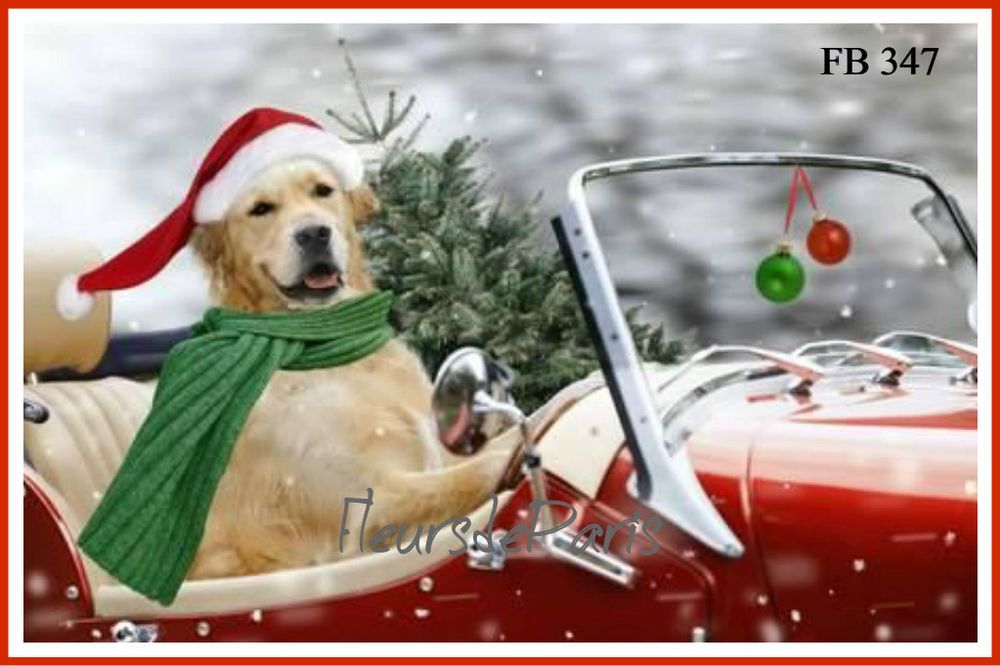 Details About Vintage Christmas Home For The Holidays Golden Retriever Red Car Quilting Fb 347 Dogs Golden Retriever Golden Retriever Golden Retriever Christmas