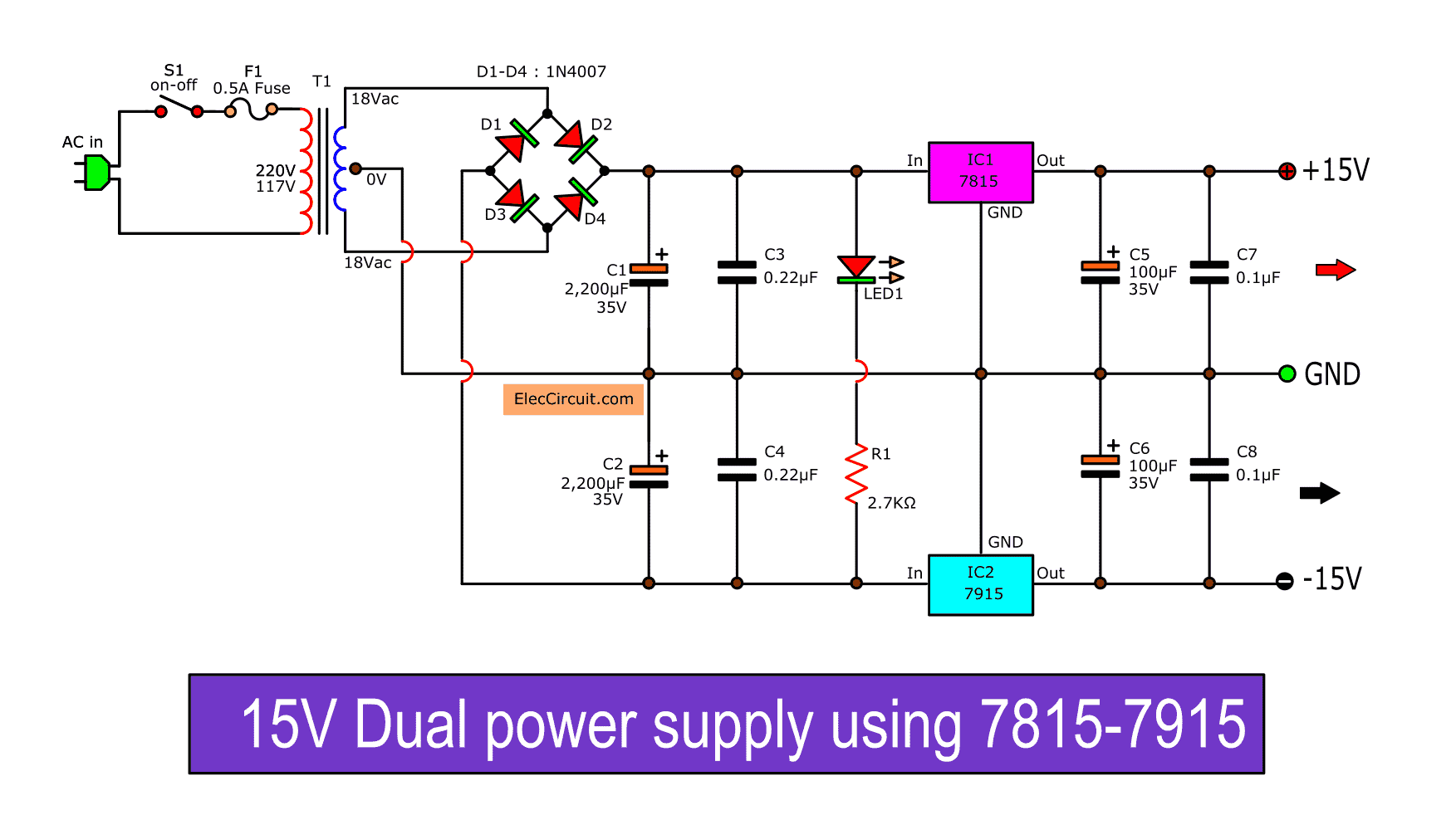 Dual 15v Power Supply Schematic With Pcb 15v 15v 1a Eleccircuit In 2020 Power Supply Circuit Power Supply Audio Amplifier