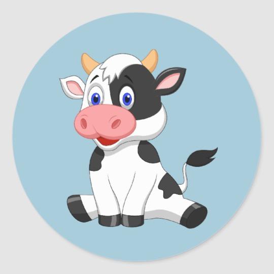 Cute Animated Cow Round Sticker Zazzle Com Animated Cow Cartoon Cow Face Cow Cartoon Drawing