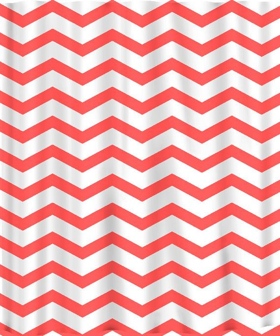 Custom Colors Shower Curtain -Chevron Coral, Taupe, Red, Beige and white design or ANY color of your choice -. $68.00, via Etsy.