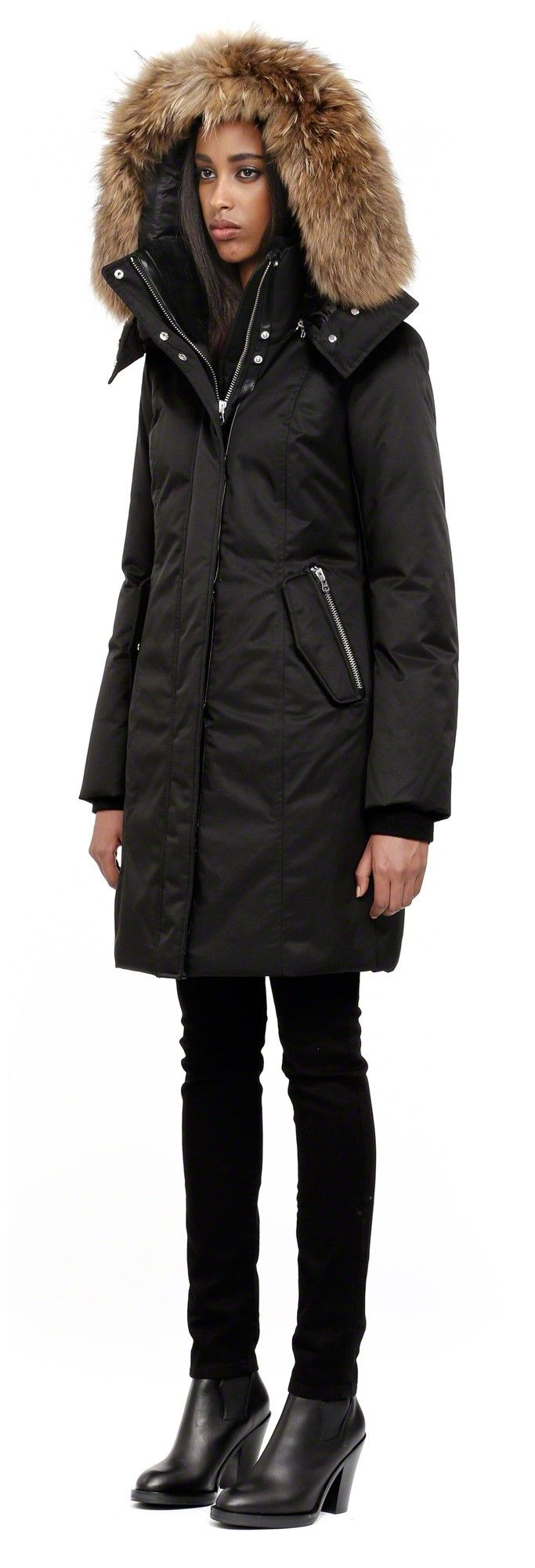 Mackage - KERRY LONG BLACK FITTED WINTER DOWN PARKA FOR WOMEN WITH FUR HOOD  - Black