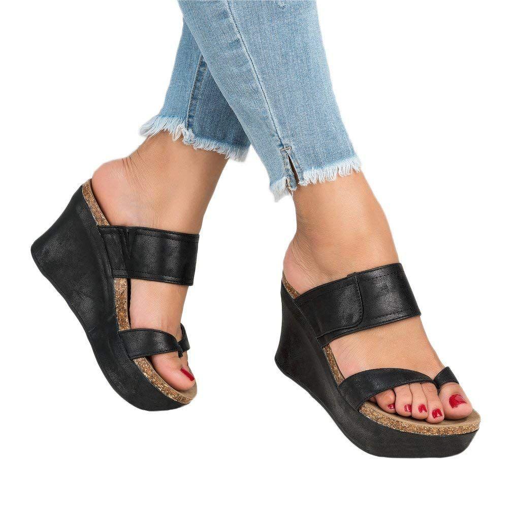 ddf9f98b4adc0 Maybest Womens Sandals Platform Wedge Heels Casual Slip On Roman ...