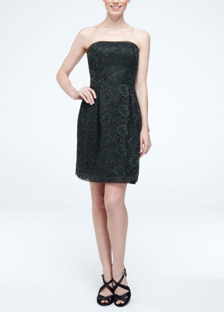 David S Bridal Short Strapless Lace Overlay Bridesmaid Prom Dress Tarragon