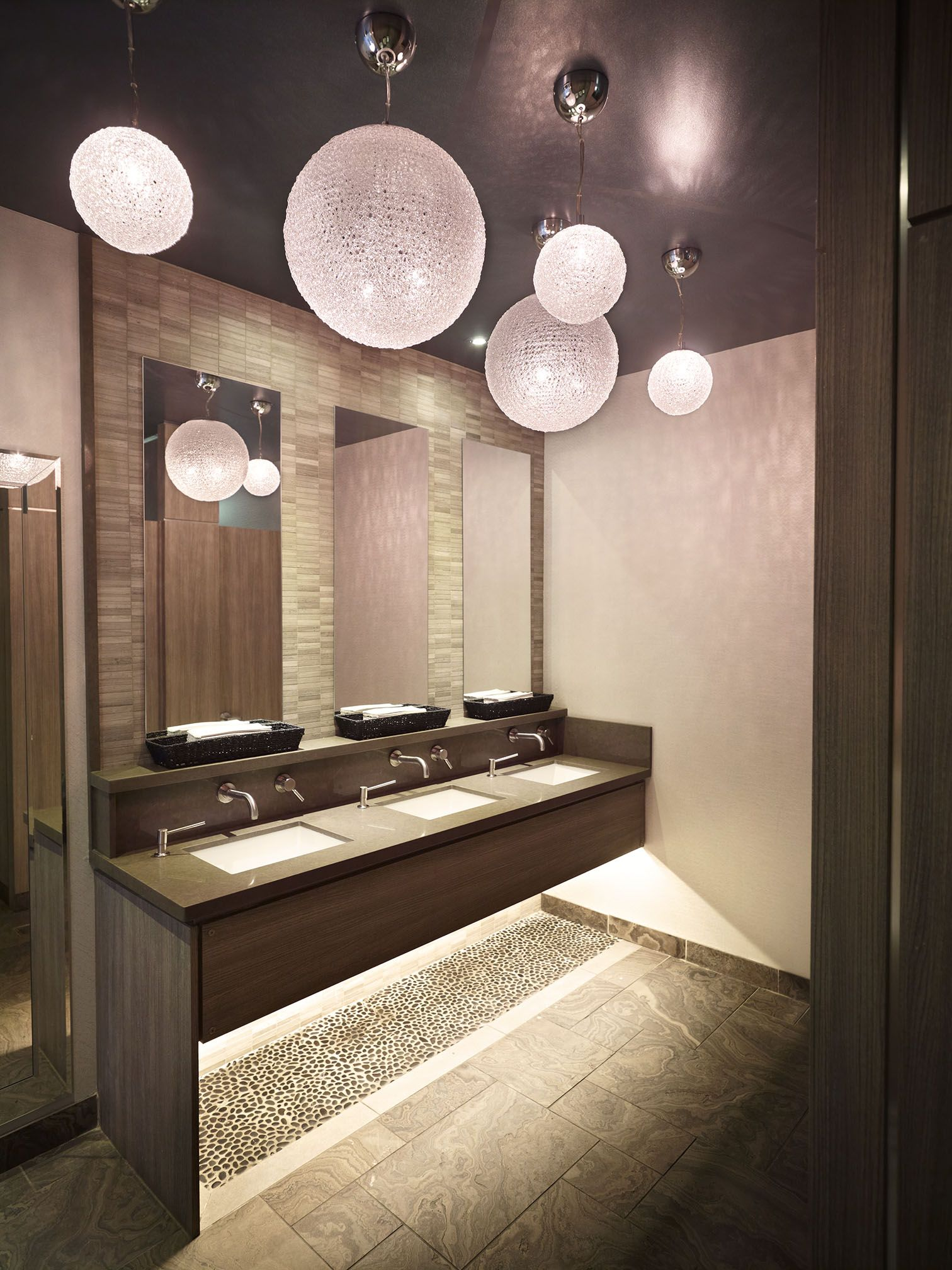 Restaurant Bathroom Design Stunning Caesarstone Quartz Surfaces In The Bathrooms At
