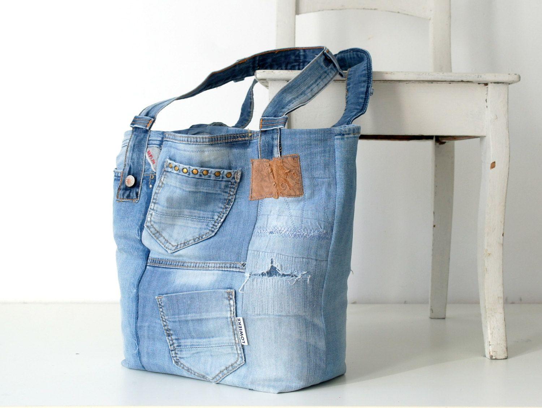 recycled jeans tote bag ,denim bag, light blue jeans bag, recycled jeans, beach bag, denim tote, shopper, vintage bag, vintage jeans by Lowieke on Etsy