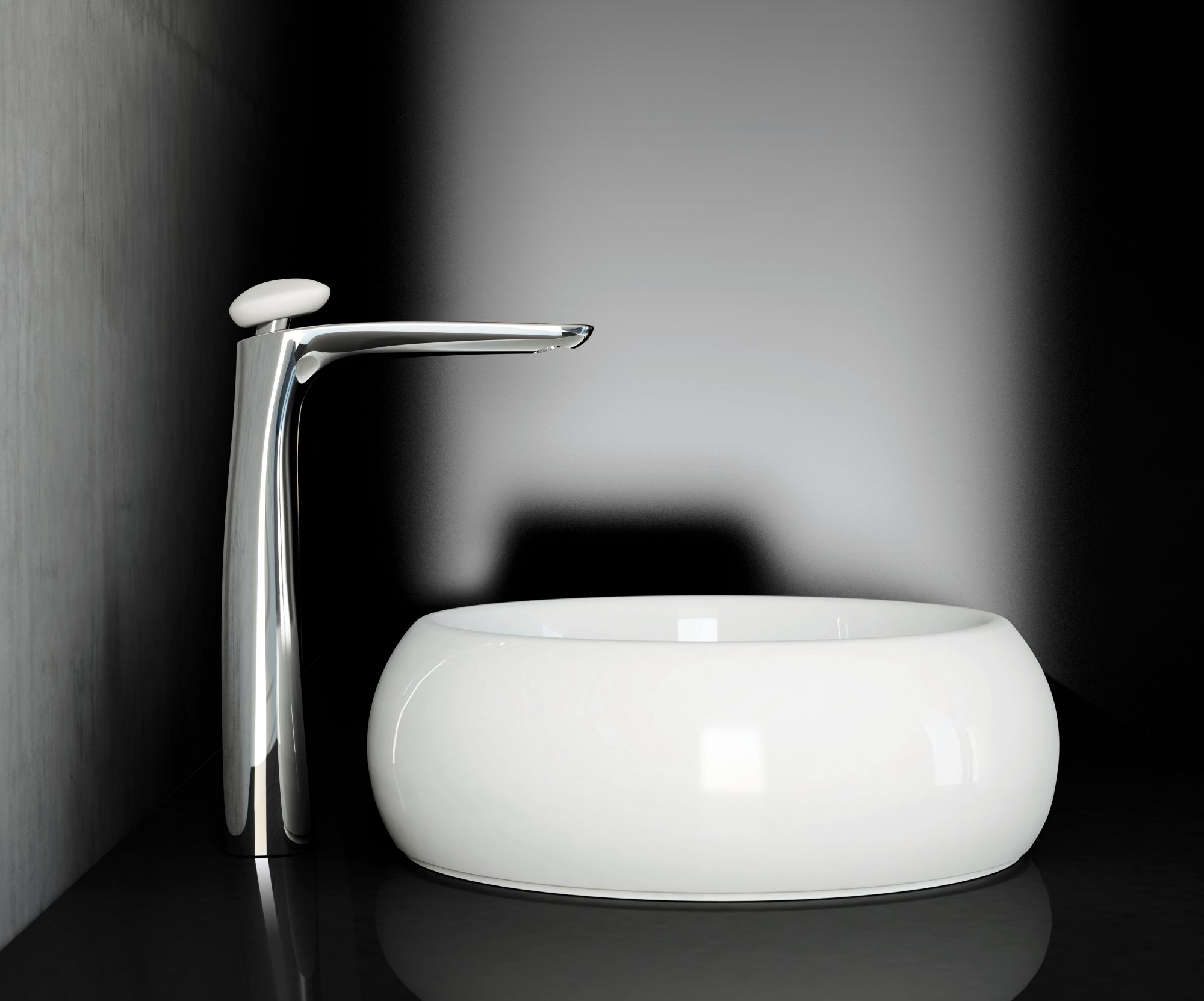 White #basin and elegant #mixer by FIR designed by #francescolucchese
