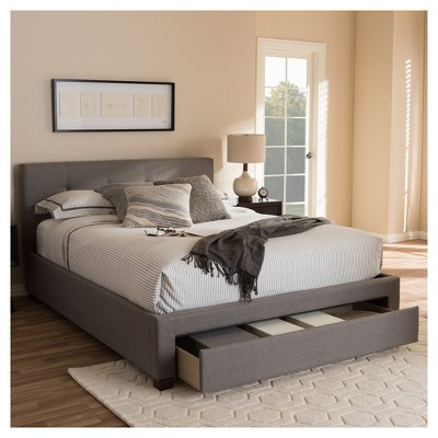 Brandy Modern and Contemporary Fabric Upholstered Platform Bed with ...