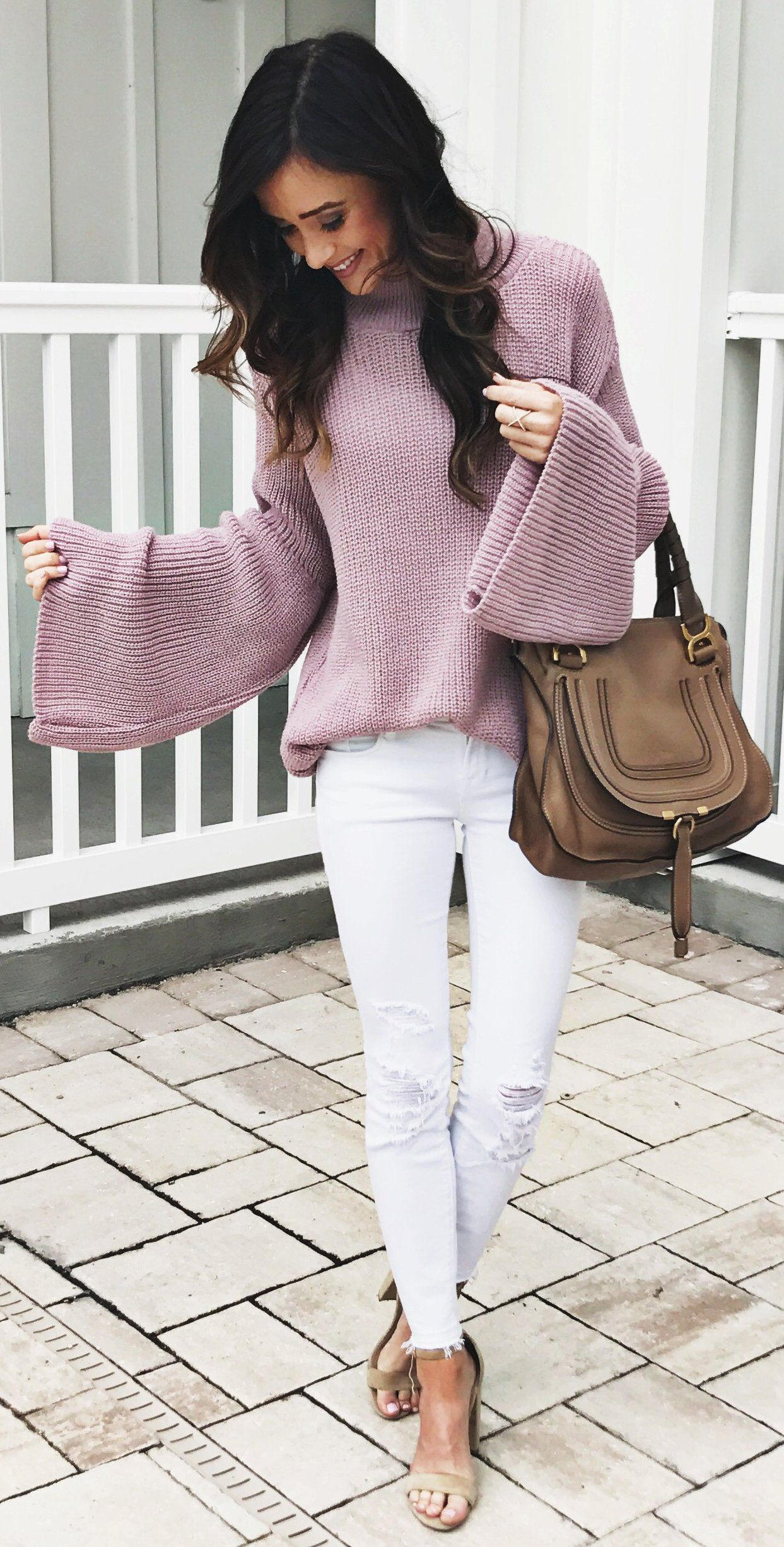 Pink Oversized Knit White Ripped Skinny Jeans Brown Leather Tote Bag Fashion Stunning Outfits Cool Outfits