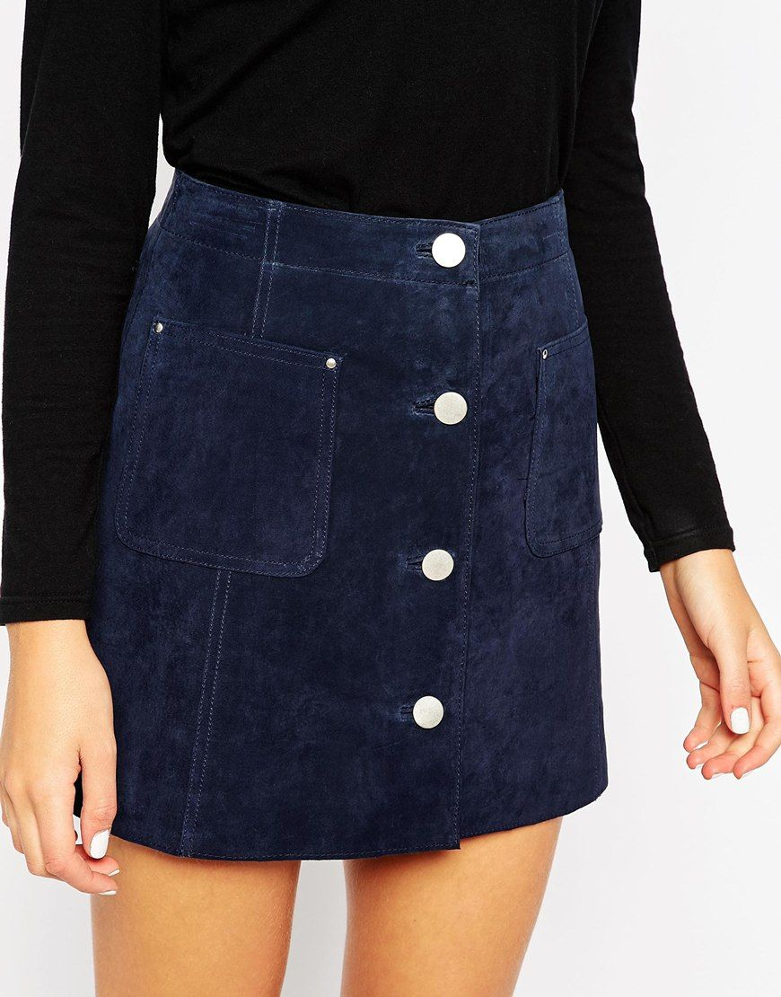 Image 3 of ASOS Suede A-Line Skirt With Button Through And Pocket ...
