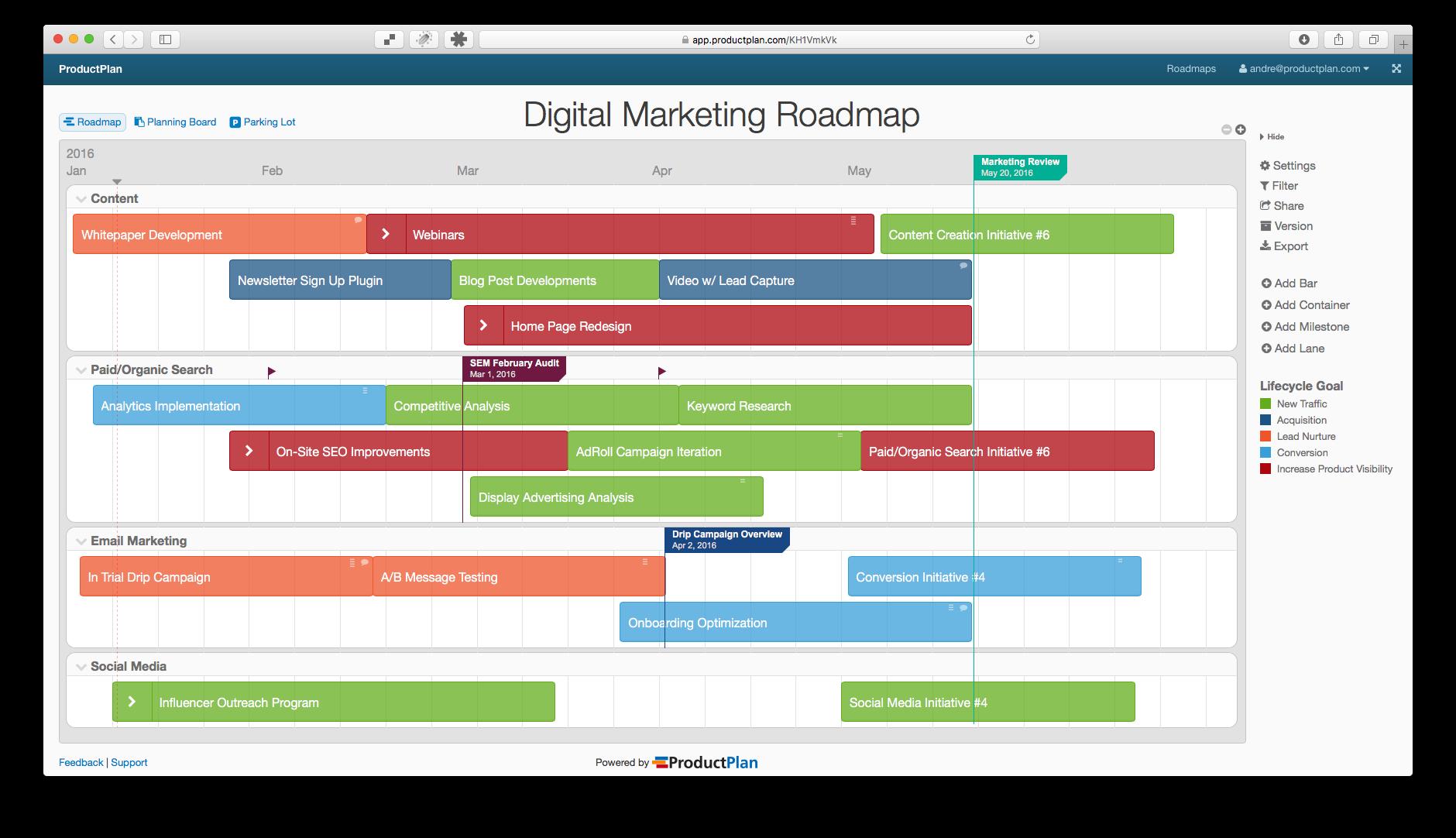 Digital marketing roadmap template also visualizing data pinterest rh