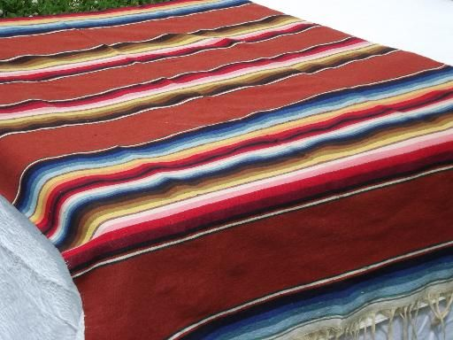 Woven Serape Stripes Mexican Indian Blanket Rug Vintage Mexico Souvenir