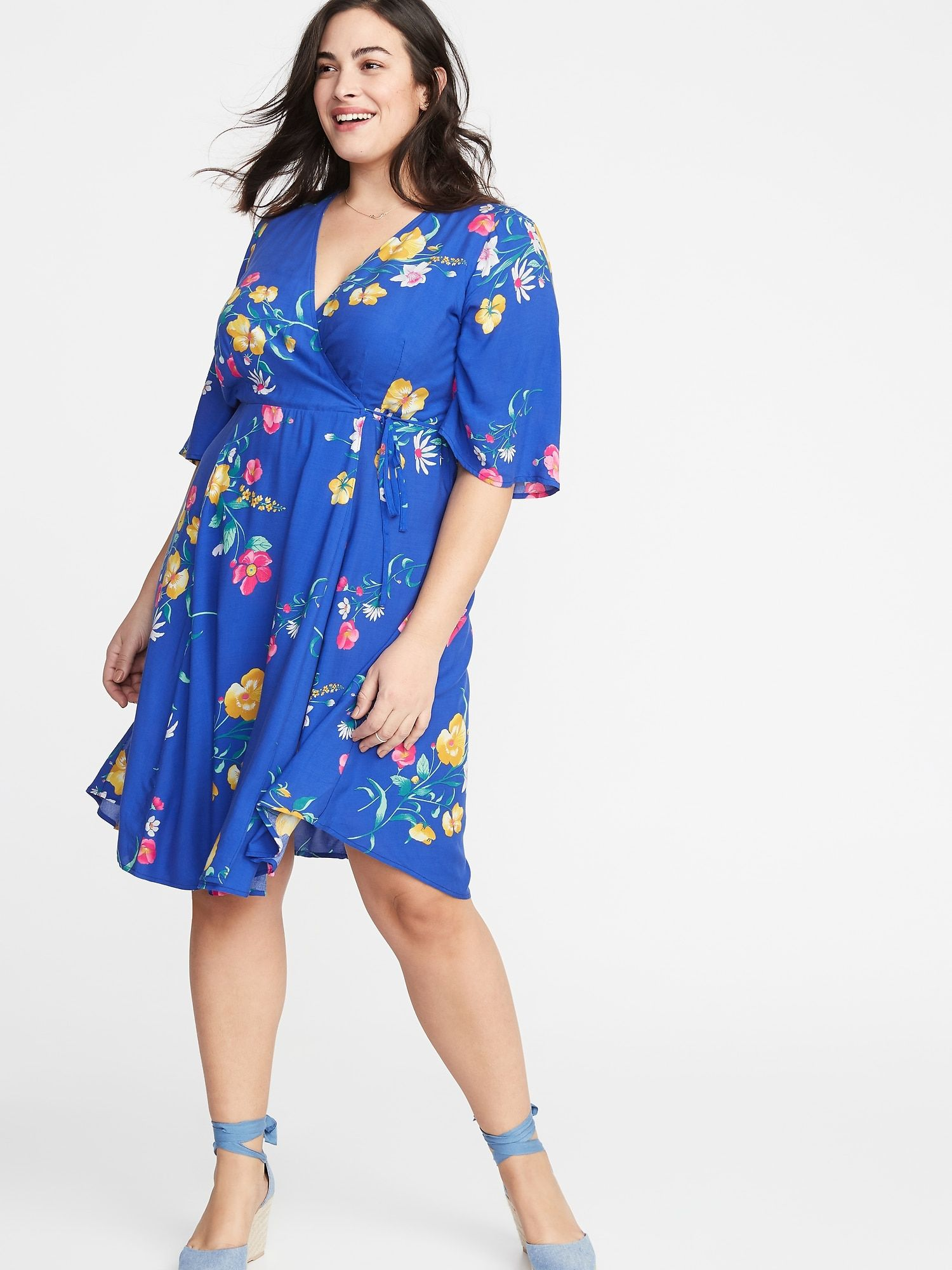 Waist-Defined Faux-Wrap Plus-Size Dress in 2019 | Clothing Wishlist ...