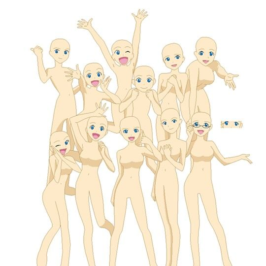 Friends Anime Group Base Anime Poses Reference Drawing Base