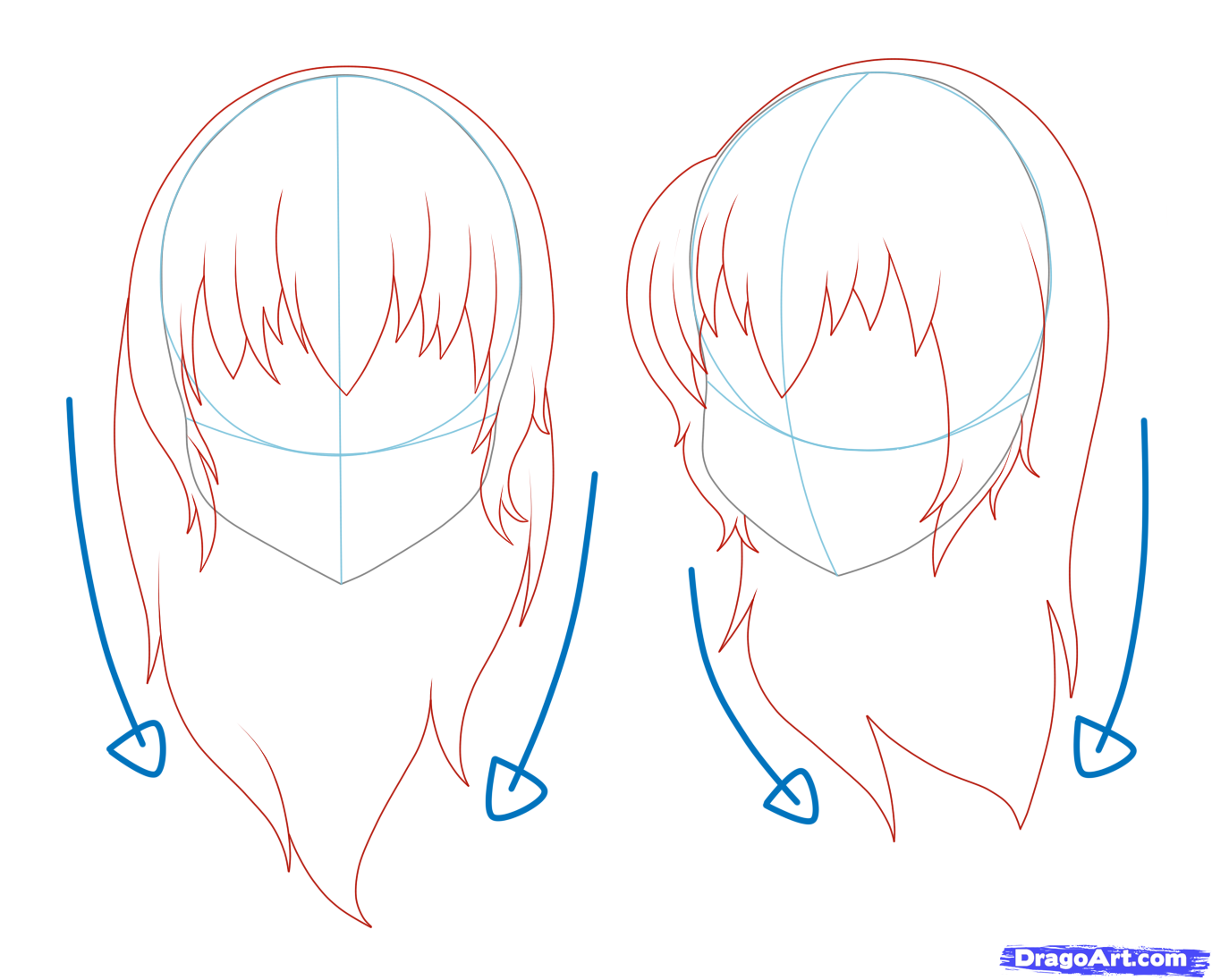 Anime Hair Drawing Female Draw long hair on a girl ...