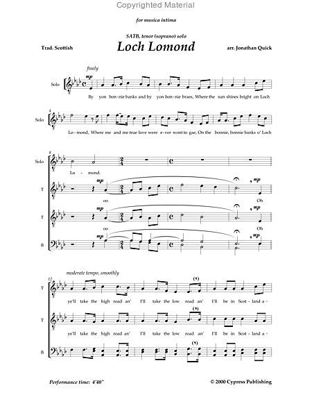 Loch Lomond (SATB) | sheet music | Music, Sheet music, Loch