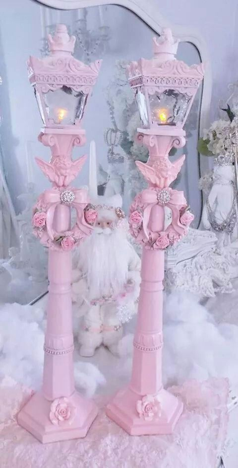Shabby Chic Vintage Xmas Decorations Houses Lamp Posts