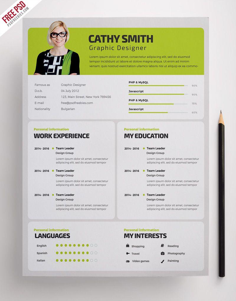Designer Resume Template Free PSD Resume design, Resume