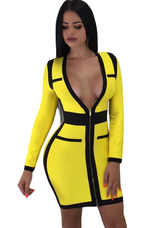 Zip me up long sleeve plunge v neck dressmini dressdressessexy
