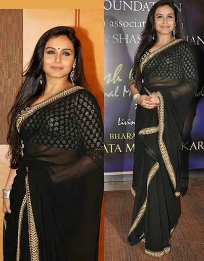 df1e9f775fa4d2 Rani mukherjee in designer black plain georgette saree with gold fancy  border by embroidery thread work. Which the actress paired with black 3/4th  sleeves ...