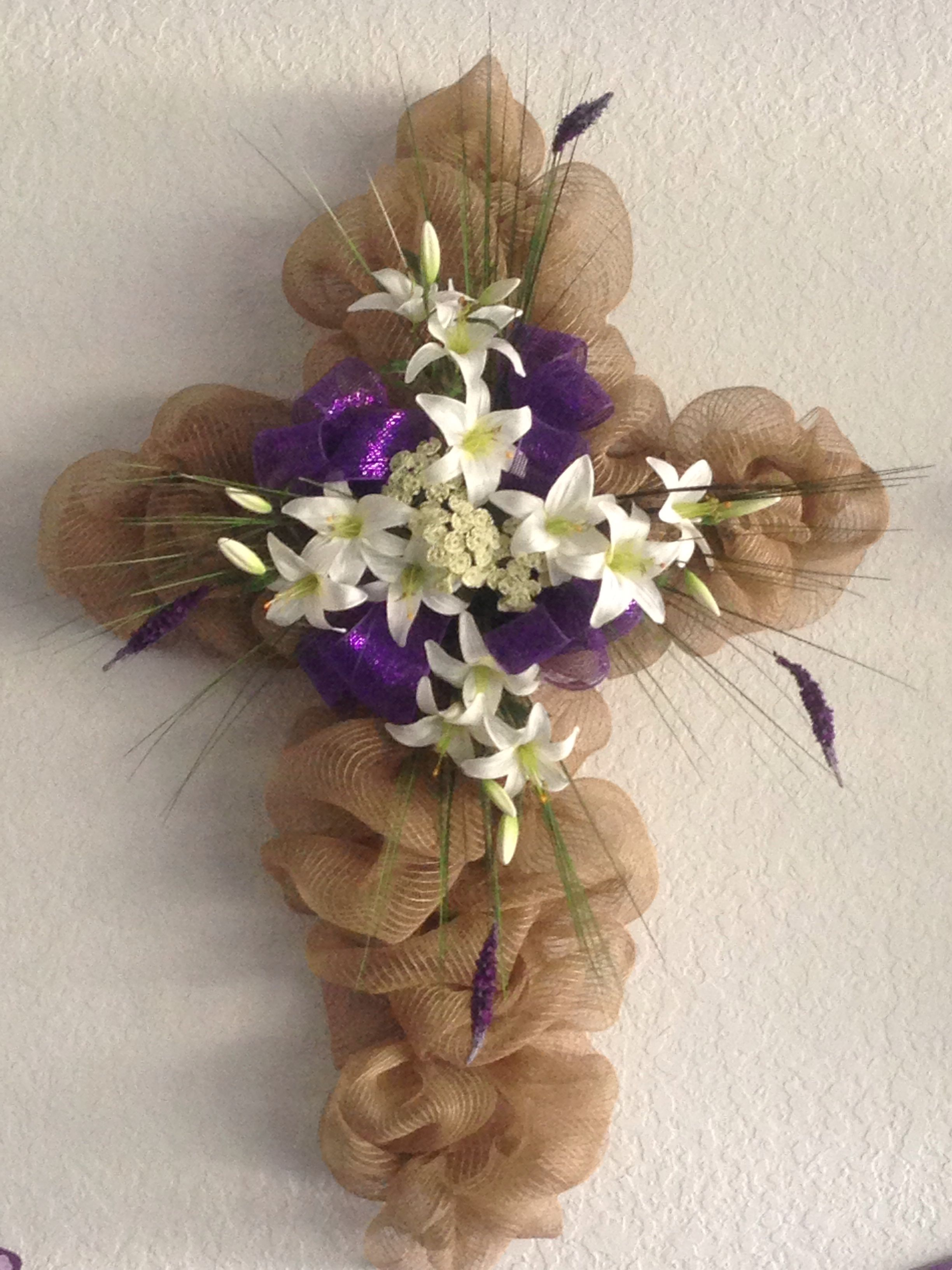 Easter Deco Mesh Cross Made By Me Easter Wreaths