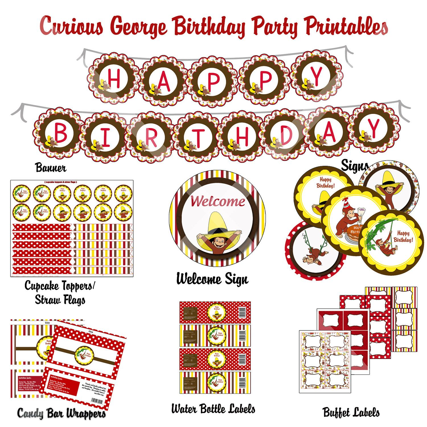 50 Off Diy Curious George Birthday Party By Photodesignz