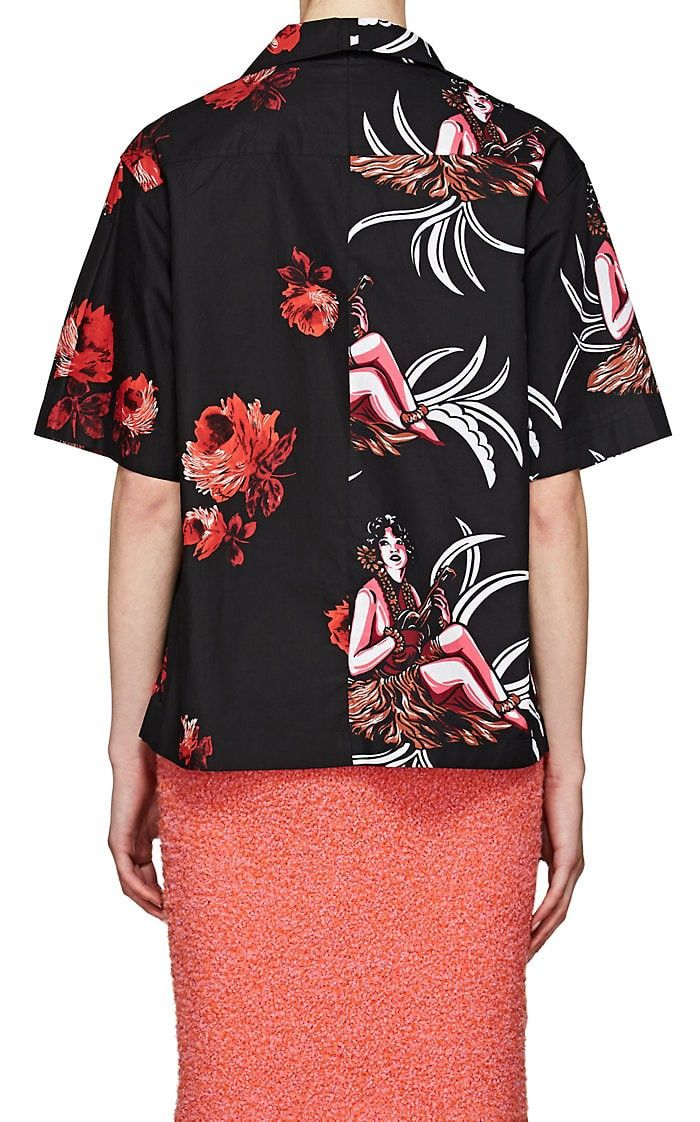 e81cc017b3e42 Prada Rose-Print Cotton Poplin Blouse - 42 It Red