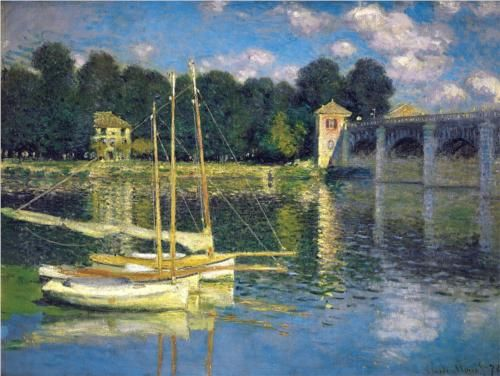 The Bridge at Argenteuil, 1874 - Claude Monet. Monet lived at Aregenteuil, near Paris, for 7 years and produced several works of sailing boats on the Seine.