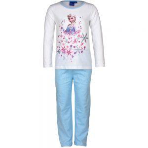 bb941a92a73 Disney kinderpyjama van CorazonKids Frozen Wit. Dit is een kinderpyjama  heeft een licht blauwe broek