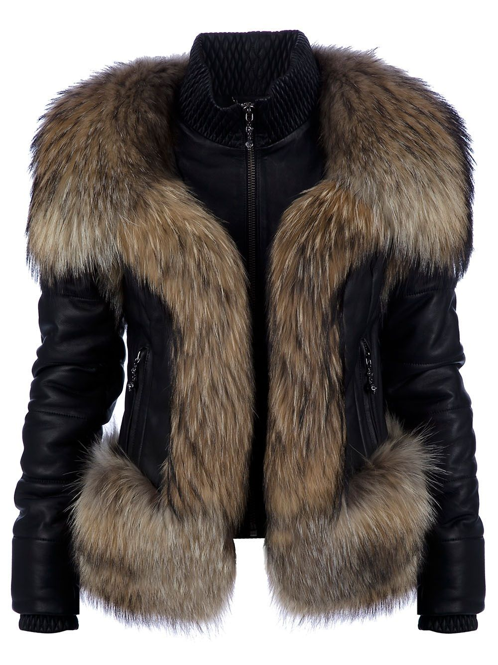 Street Style Black leather jacket and faux fur shrug