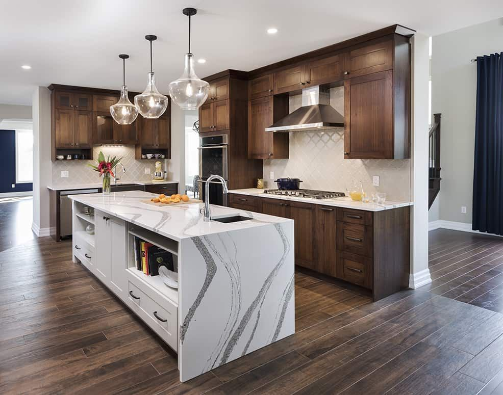 Bright Kitchen Medium Dark Wood Cabinets White Island Wood Floor Kitchen Dark Wood Cabinets Dark Kitchen Floors