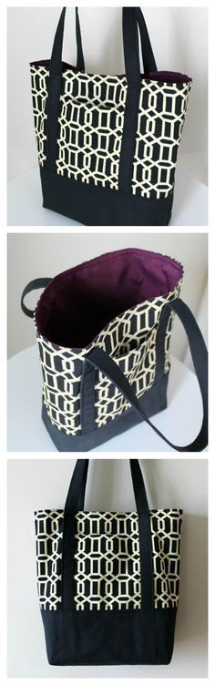 Photo of Lined Canvas Tote Bag – free pattern – Sew Modern Bags