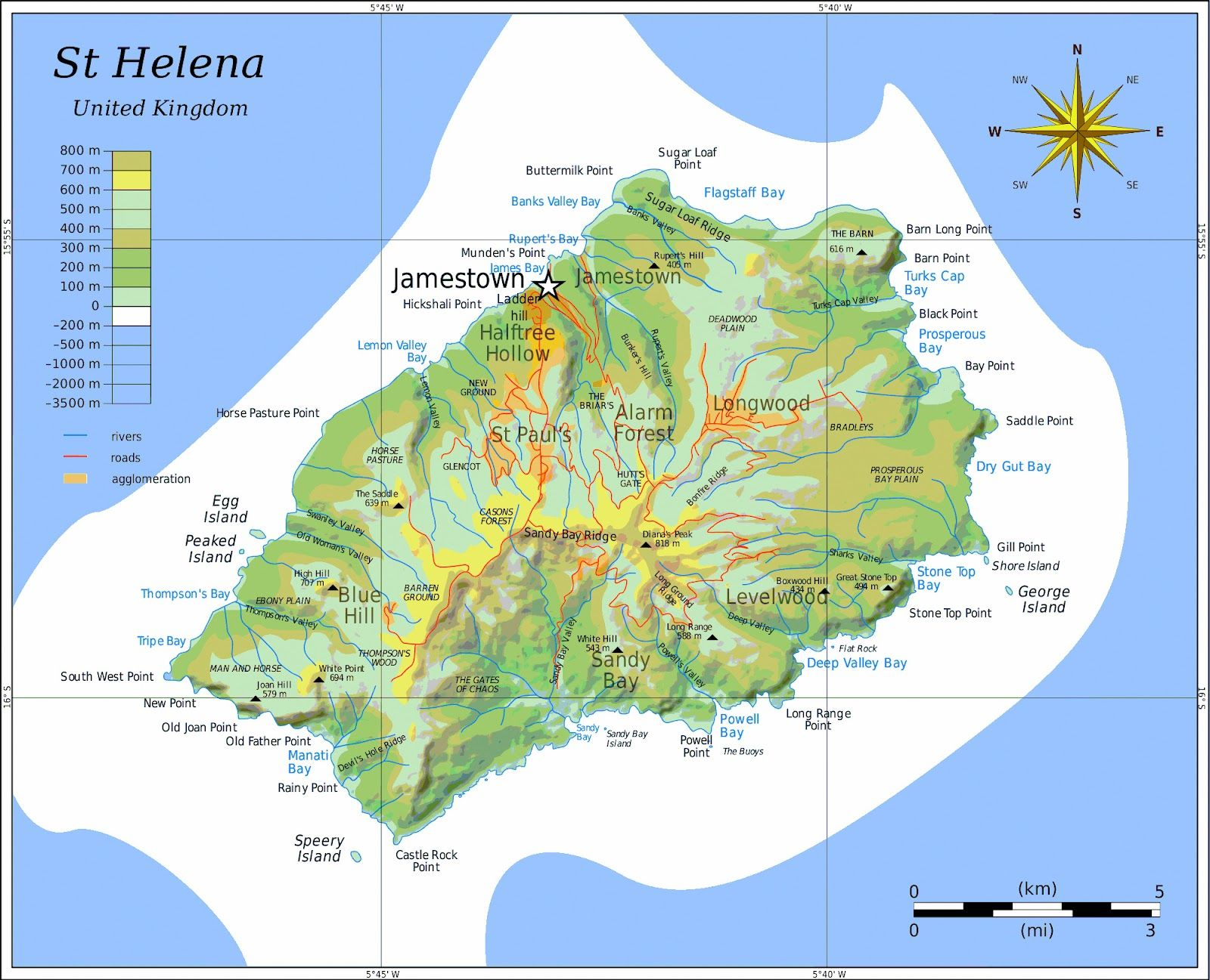 St Helena Island map St Helena Ascension Tristan da Cunha