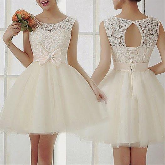 Krotka Suknia Slubna Sukienka Rozkloszowana Wesele 5068813327 Oficjalne Archiwum Allegro Lace Dress Homecoming Dresses White Prom Dress