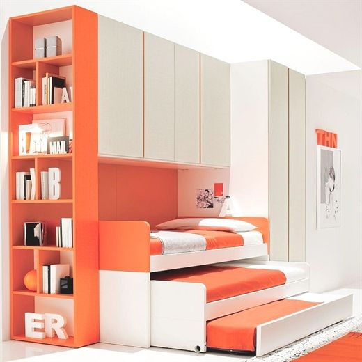 Bedroom Furniture Set For Kids With 3 Beds Truckle Guest Bed Bridge Wardrobe Tall Bookcase