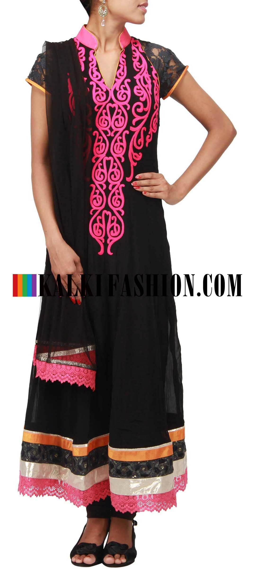 Buy Online from the link below. We ship worldwide (Free Shipping over US$100)  http://www.kalkifashion.com/catalog/product/view/id/10189/s/black-anarkali-suit-embellished-in-thread-work-only-on-kalki/ Black anarkali suit embellished in thread work only on Kalki