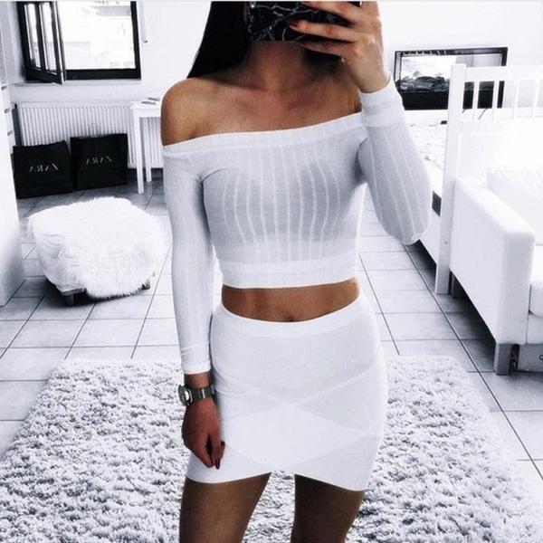 Solid Color Slash Neck Long Sleeve Fashion Slim Women Sexy Crop Top - Lupsona