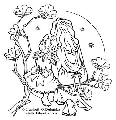 Dulemba Coloring Page Tuesday Mother And Child Mother And Daughter Drawing Mother And Child Drawing Whale Coloring Pages