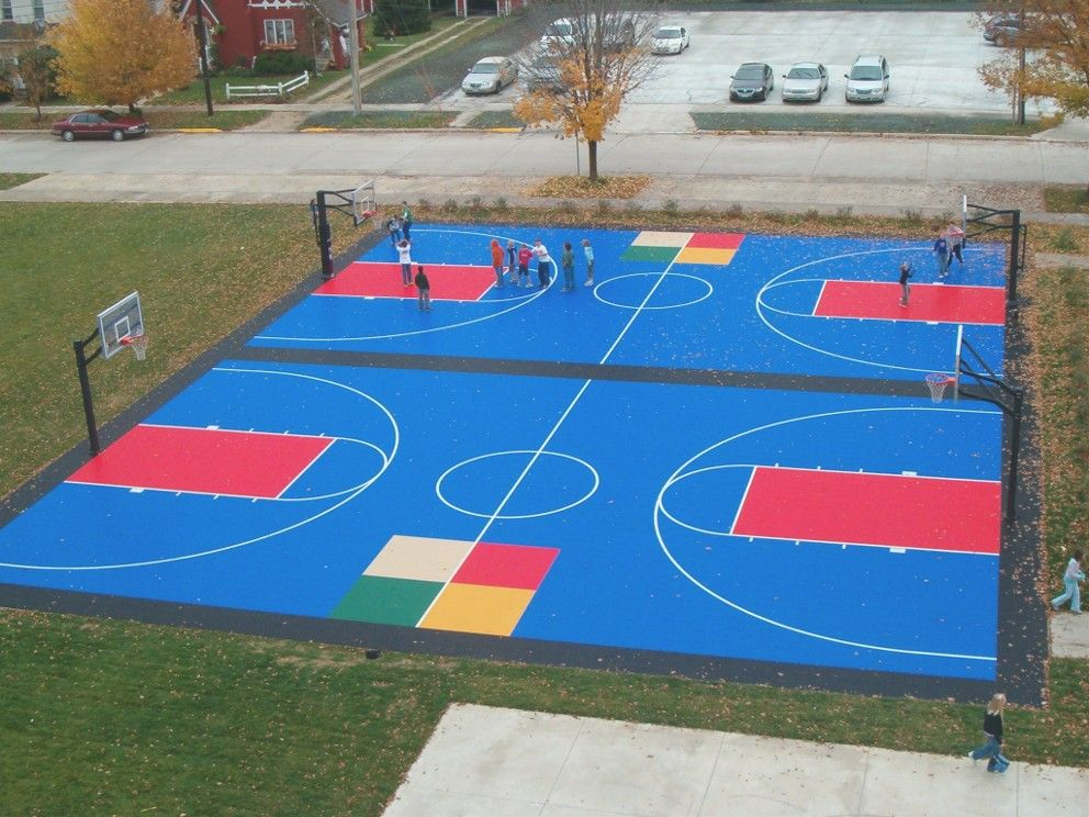 Multi Use Court With Four Square And Basketball By Sport Court Midwest Outdoor Basketball Court Indoor Basketball Court Sport Court