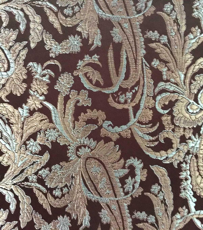Brocade Fabric-Paisley Brown Gray
