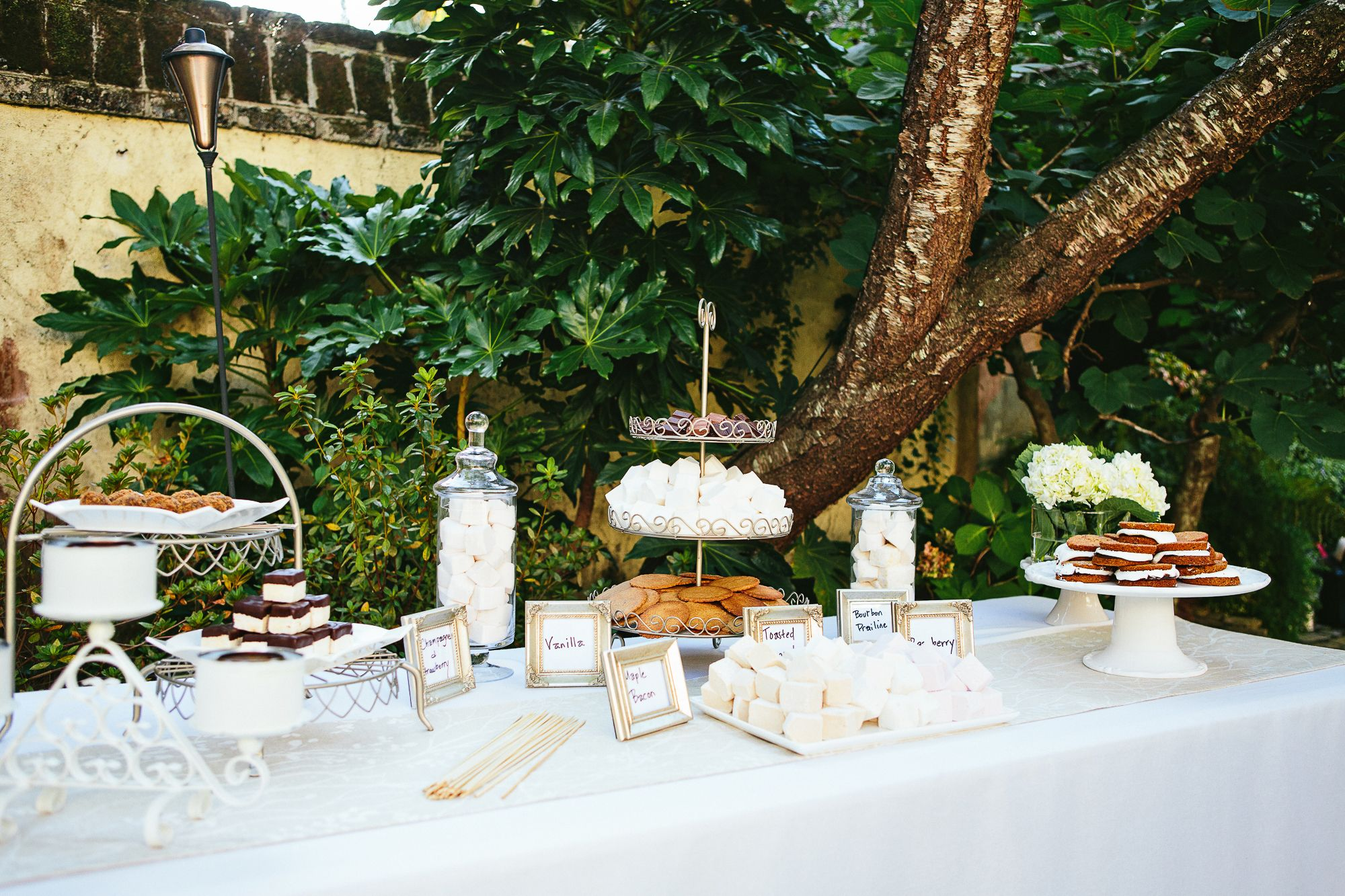 Classic S'more Buffet display, simple, clean, white