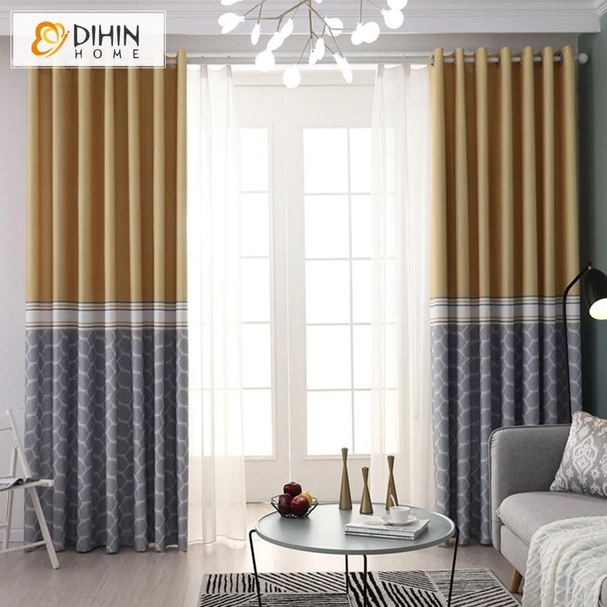 Dihin Home Modern Geometry High Quality Printing Curtain Blackout Curtains Grommet Window Curtain For Living Room 52x84 Inch 1 Panel Curtains Living Room Curtains For Grey Walls Curtains
